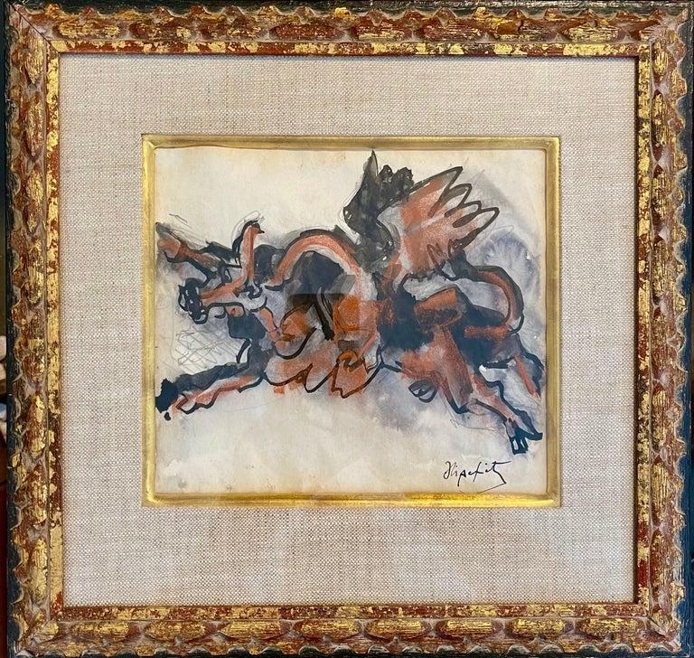Jacques Lipchitz French Cubist Modernist Gouache Painting Sculpture Study For Sale 6