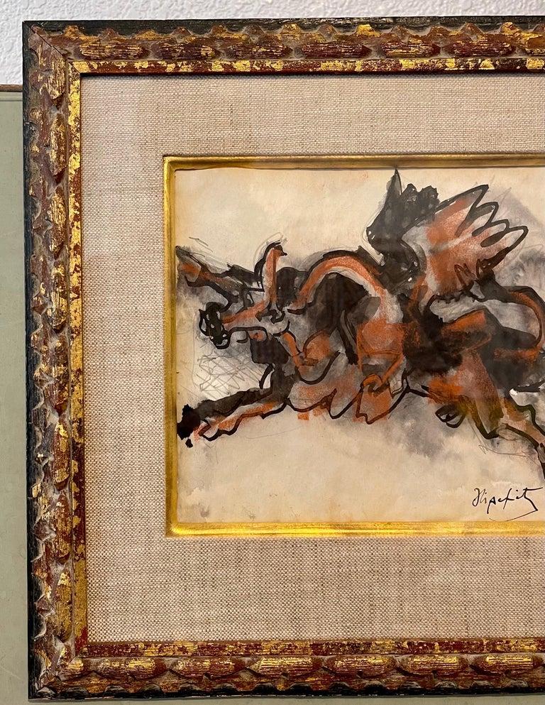 Jacques Lipchitz French Cubist Modernist Gouache Painting Sculpture Study For Sale 4