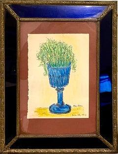 Expressionist Color Drawing Cobalt Glass Vintage Frame Modernist Ben Zion WPA