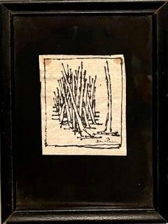 Expressionist Miniature Drawing Wheat Stalks American Modernist Ben Zion WPA