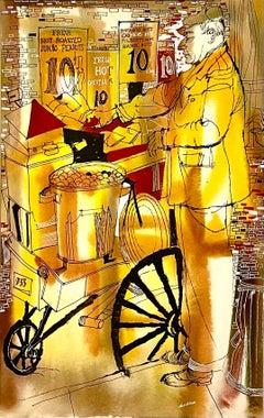 New York City Roasted Chestnut Seller, Hot Peanuts Watercolor Painting Cartoon