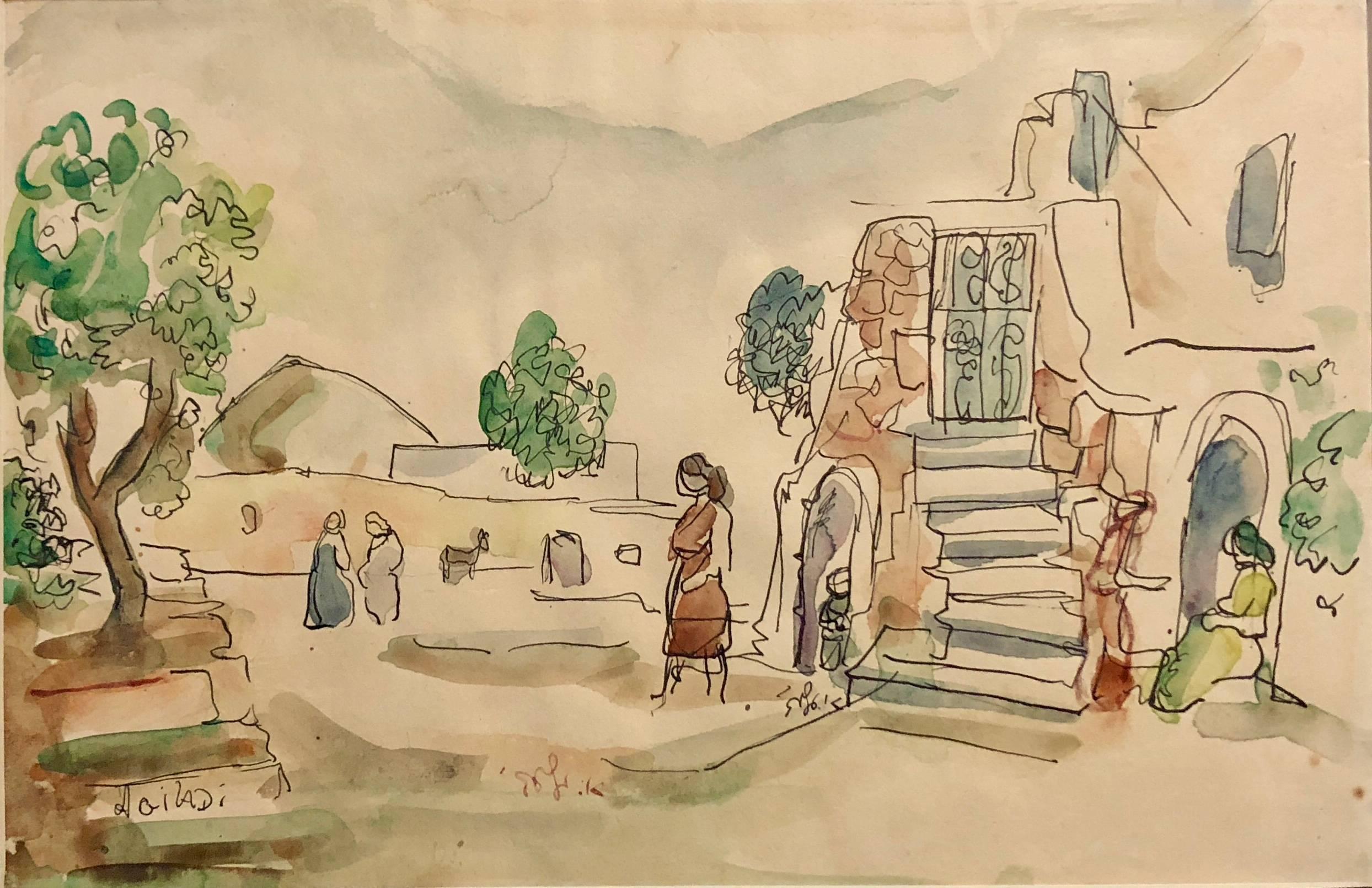 Old Yishuv, Israeli Watercolor Painting Modern Art Landscape