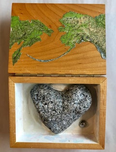 Modernist Alaska Russia Table Sculpture Wood Map Collage Box Heart Assemblage