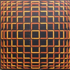 Colored Tape on Metal Box Manner of Vasarely Collage Painting Kinetic Op Art