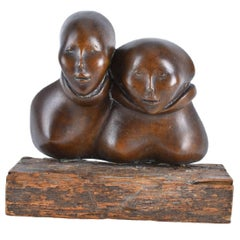Dutch Modernist Latin American Bronze Sculpture on Wood Base, Two Faces, Zitman