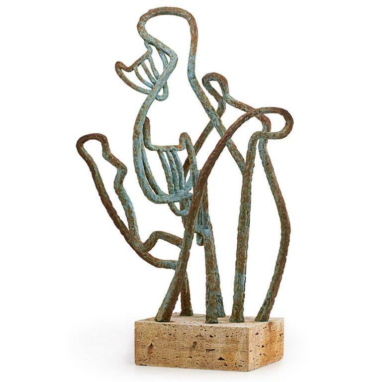 """Marie Zoe Greene-Mercier Figurative Sculpture - Abstract Signed Cubist Bronze Sculpture """"Cats"""" Chicago Bauhaus Woman Modernist"""