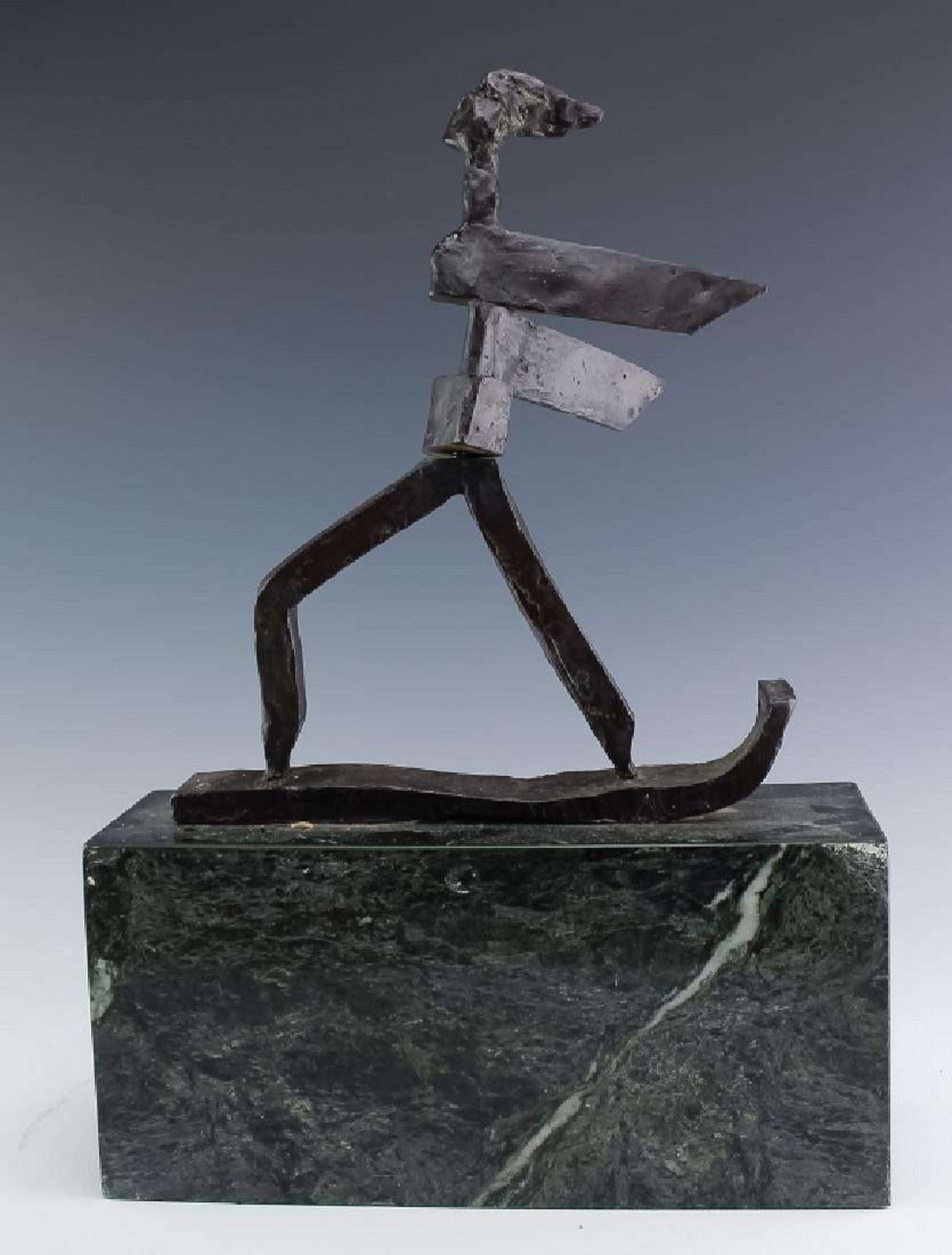 KInetic Bronze Expressionist Sculpture Skier or Surfer Modernist Sporting Figure