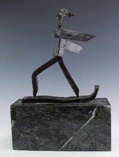 KInetic Bronze Expressionist Sculpture Skier or Surfer Modernist Sporting Figure