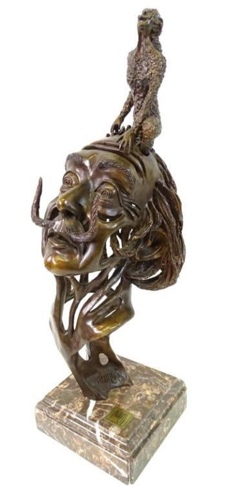 Carlos Aguilar y Linares Abstract Sculpture - Large Salvador Dali Surrealist Bronze Portrait Sculpture Mexican Master Aguilar