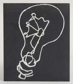 Unique Pop Art (Etching) Painting on Slate, Electric Light Bulb Downtown NYC Art