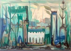 Jewish Mystical Kabbalah Oil Painting Jerusalem Cityscape Hebrew Letters Judaica