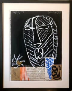 Puerto Rican Modernist Master Figueroa Mixed Media Painting Music Notes Collage