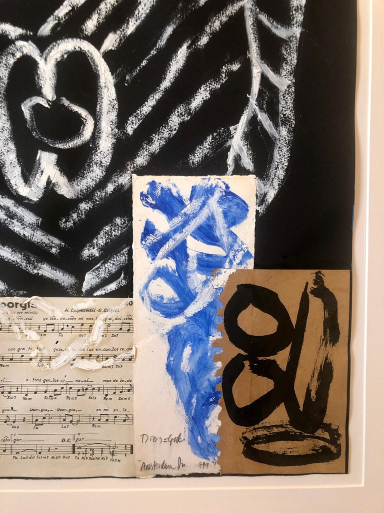 Puerto Rican Modernist Master Figueroa Mixed Media Painting Music Notes Collage For Sale 3