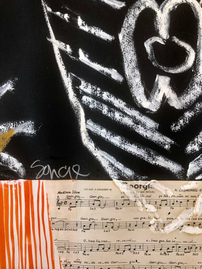 Puerto Rican Modernist Master Figueroa Mixed Media Painting Music Notes Collage For Sale 8