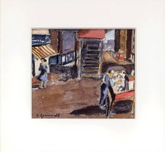 1940 American WPA Modernist New York City Watercolor Painting Pushcart Tenements