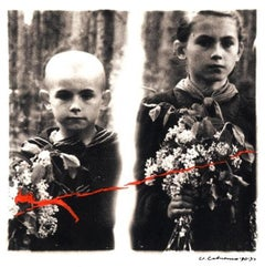 Post Soviet Avant Garde Art. Silver Gelatin Print Photograph with Colored Pencil