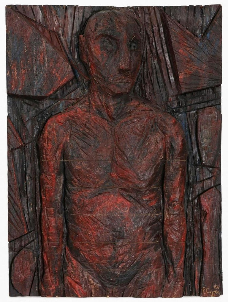 Philippe Cognee Carved Painting  Expressionist Wood Relief Sculpture African Art For Sale 5