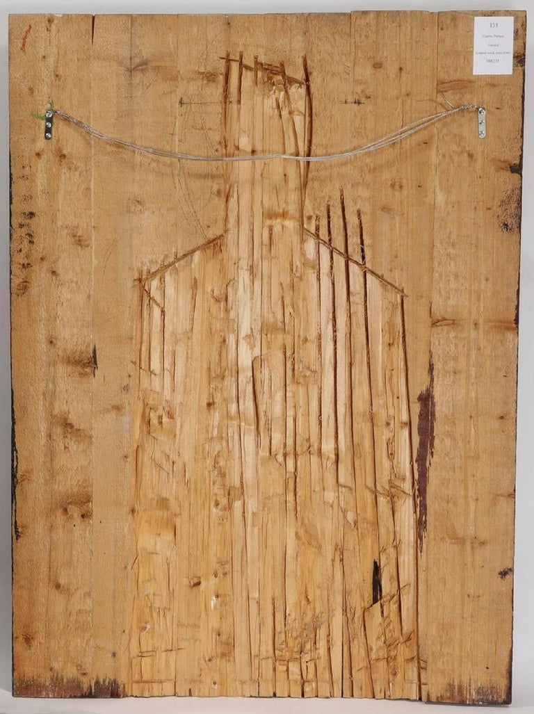 Philippe Cognee Carved Painting  Expressionist Wood Relief Sculpture African Art For Sale 8