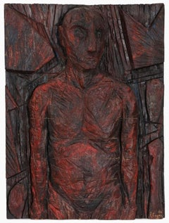 Philippe Cognee Carved Painting  Expressionist Wood Relief Sculpture African Art