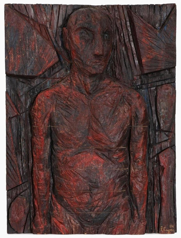 Philippe Cognee Carved Painting  Expressionist Wood Relief Sculpture African Art - Brown Figurative Painting by Philippe Cognee