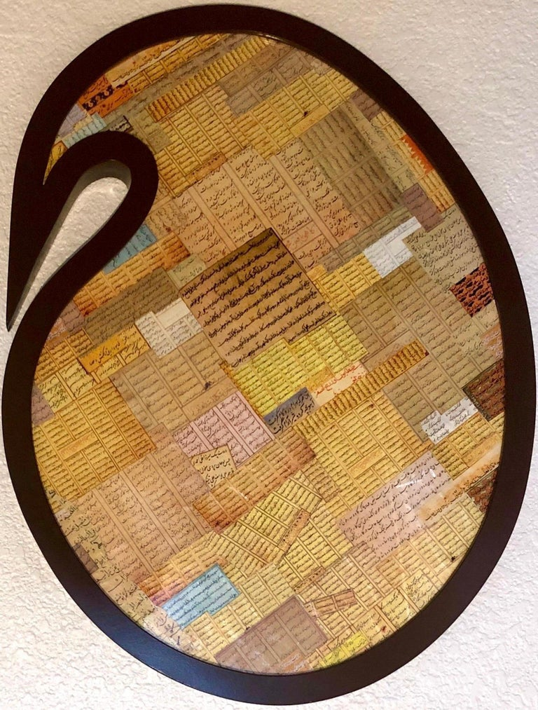 Andisheh Avini  Abstract Sculpture - Shaped Collage Painting in Carved Wood Frame Iranian American Contemporary Art