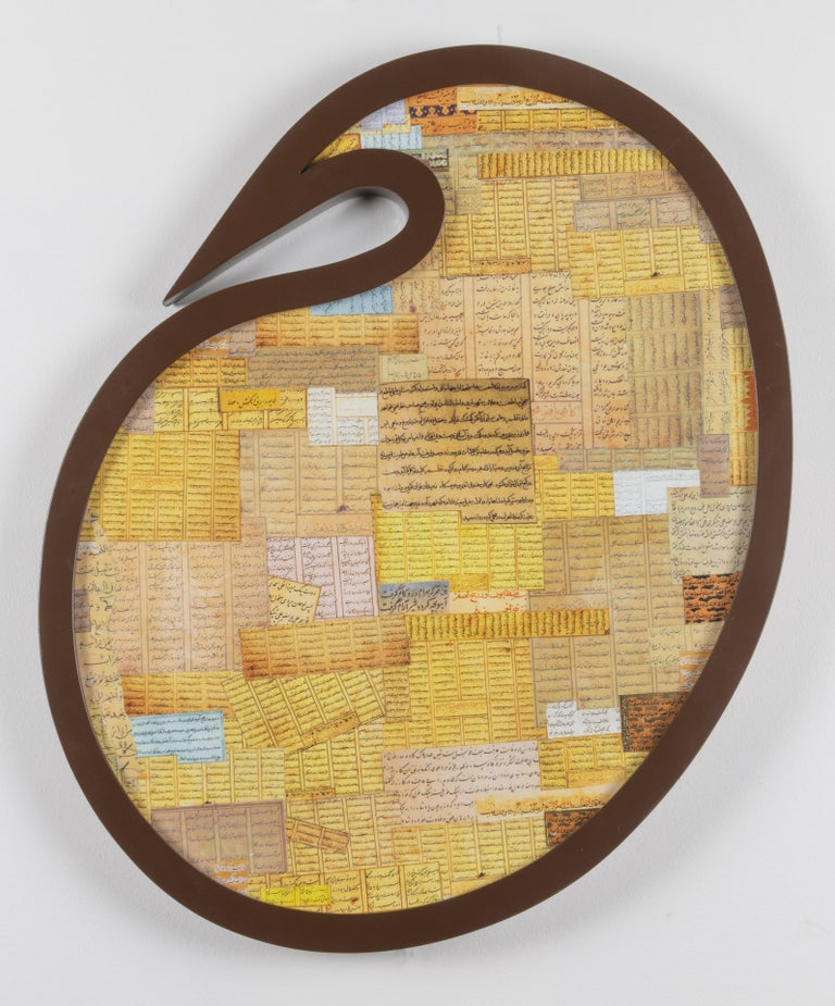 Shaped Collage Painting in Carved Wood Frame Iranian American Contemporary Art For Sale 10