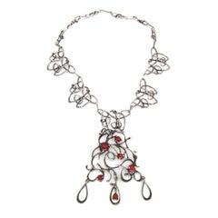 Handmade Israeli Modernist Brutalist Studio Silver Sterling Necklace, Pendant