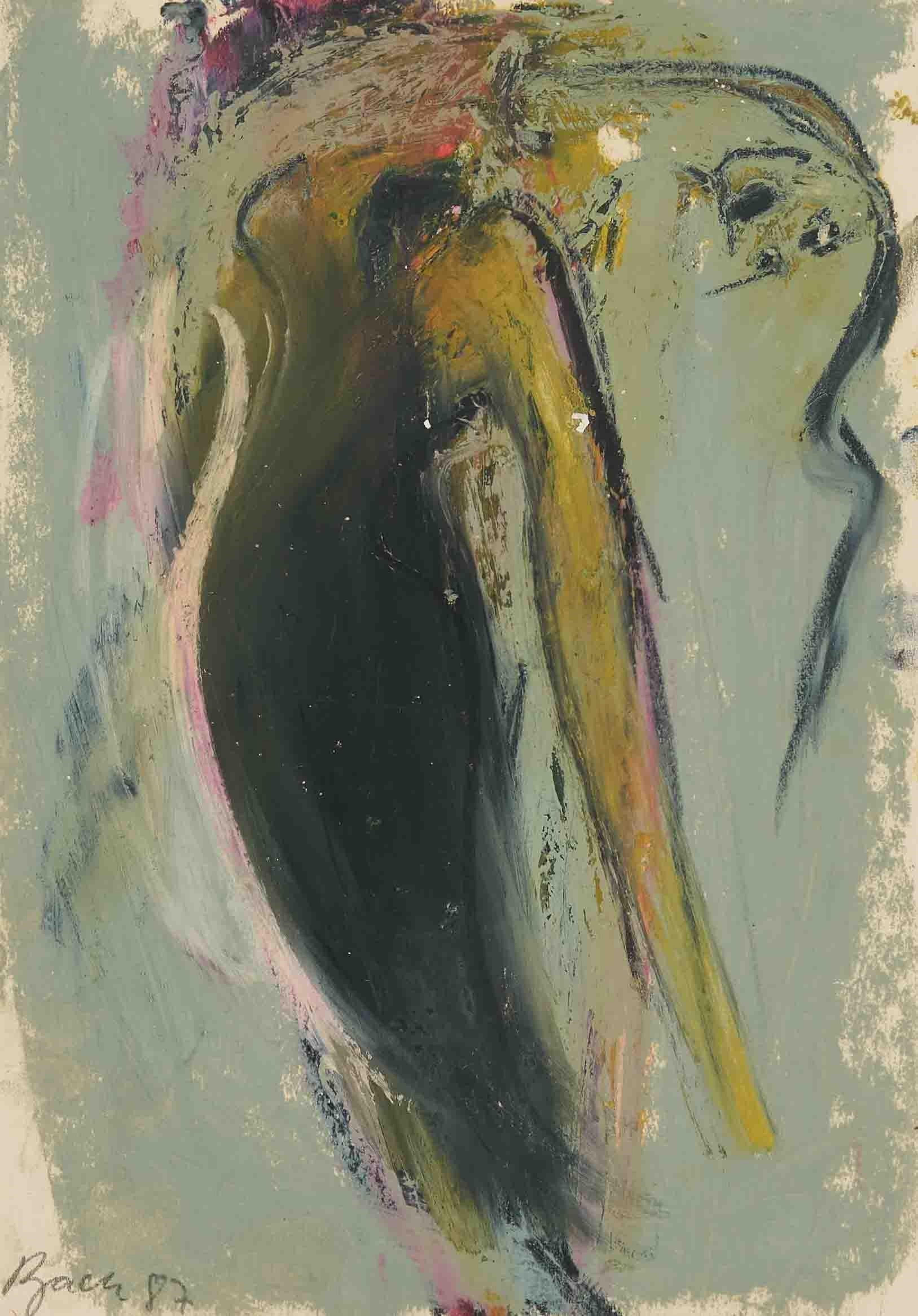 German Junge Wilde Abstract Gouache Painting Hand Signed, Neo Expressionist Bach