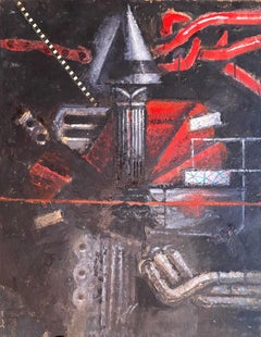 Mixed Media Collage Oil Painting Futuristic Abstract Expressionist Machine Art