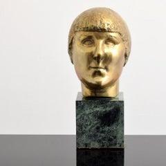 Bronze Modernist Sculpture Portrait, Gertrude Stein by Minna Harkavy WPA Artist