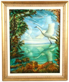 Large Russian Israeli Fantastic Realism Surrealist Oil Painting Girl with Swan