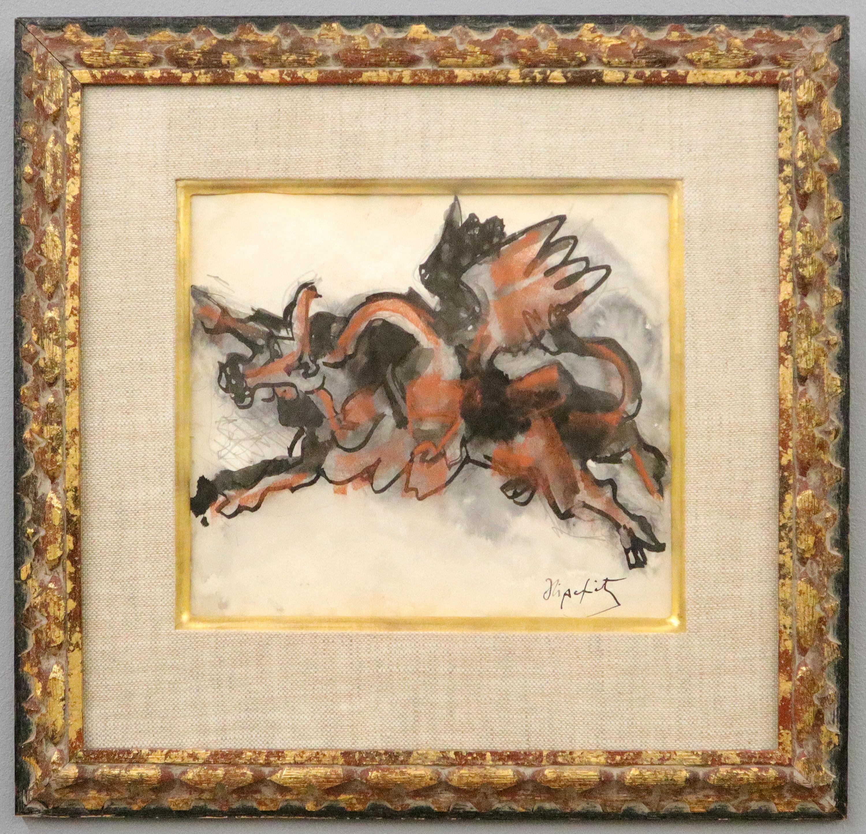 Jacques Lipchitz French Cubist Modernist Gouache Painting Sculpture Study
