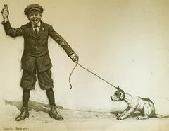 Sam pulling his new dog, Walter John