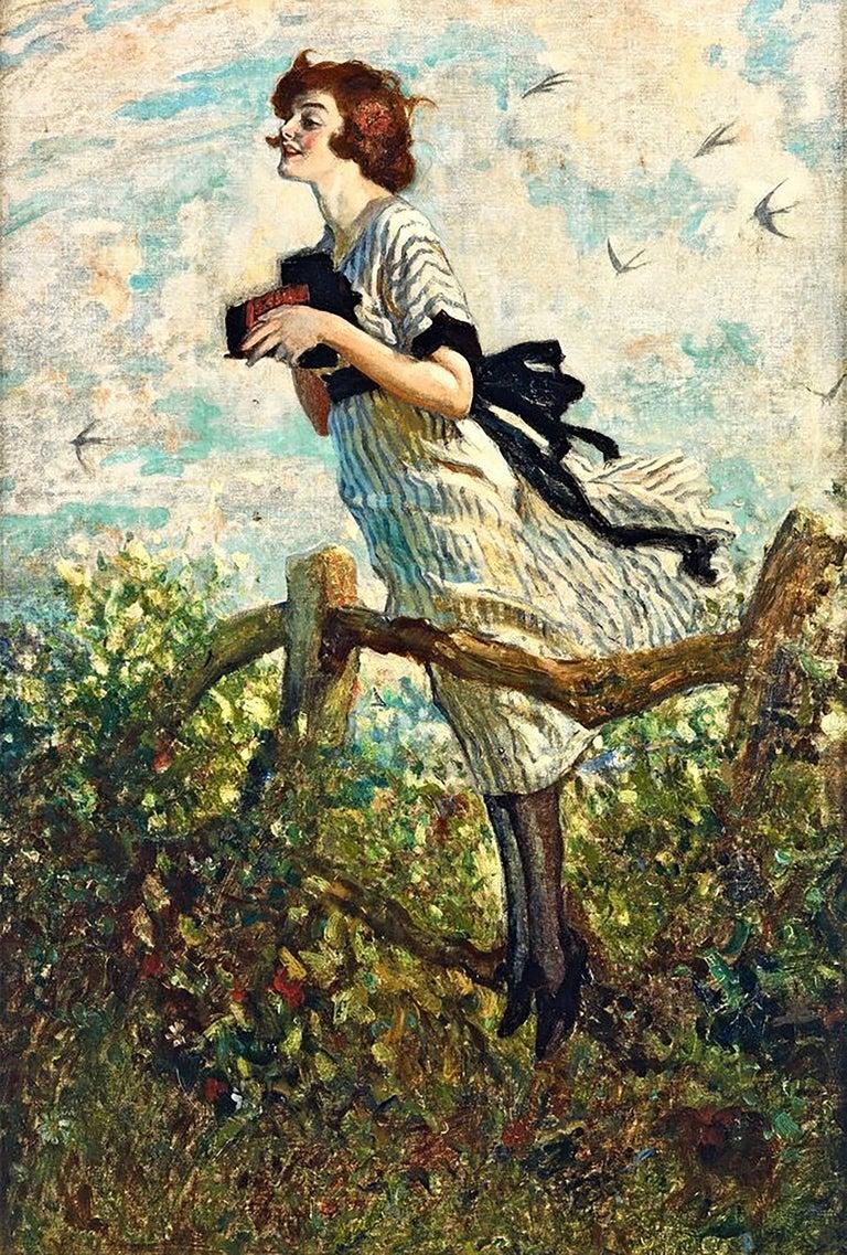 W. Smithson Broadhead Figurative Painting - Young Woman with Kodak Camera