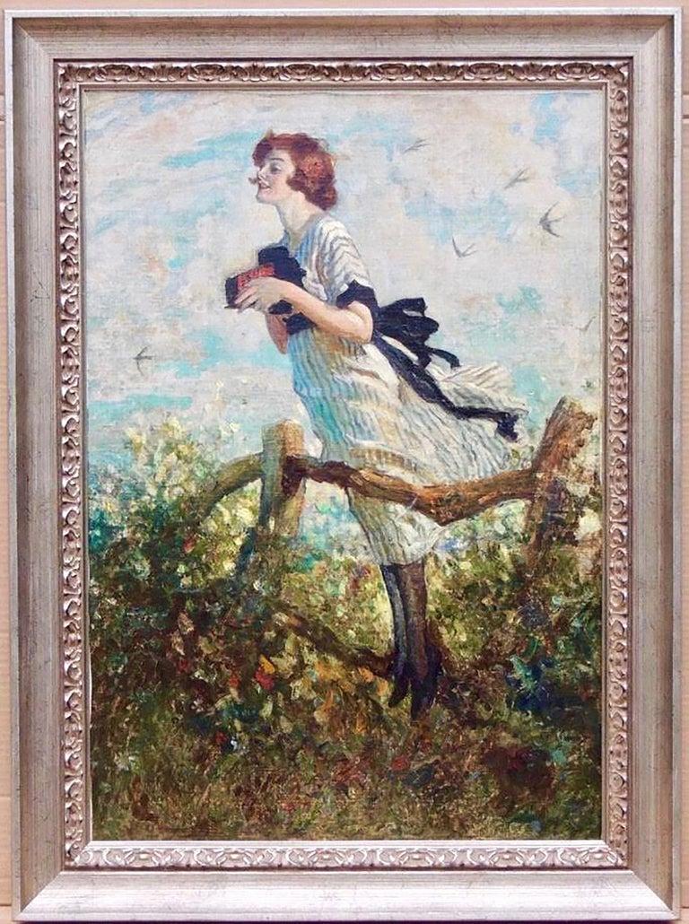 Young Woman with Kodak Camera - Painting by W. Smithson Broadhead