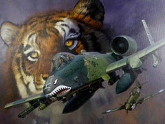 Tiger & Fighter Plane
