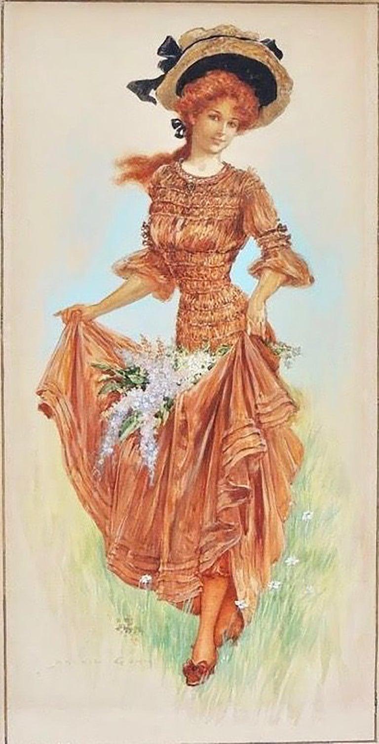 Archie Gunn Figurative Art - Girl Collecting Flowers