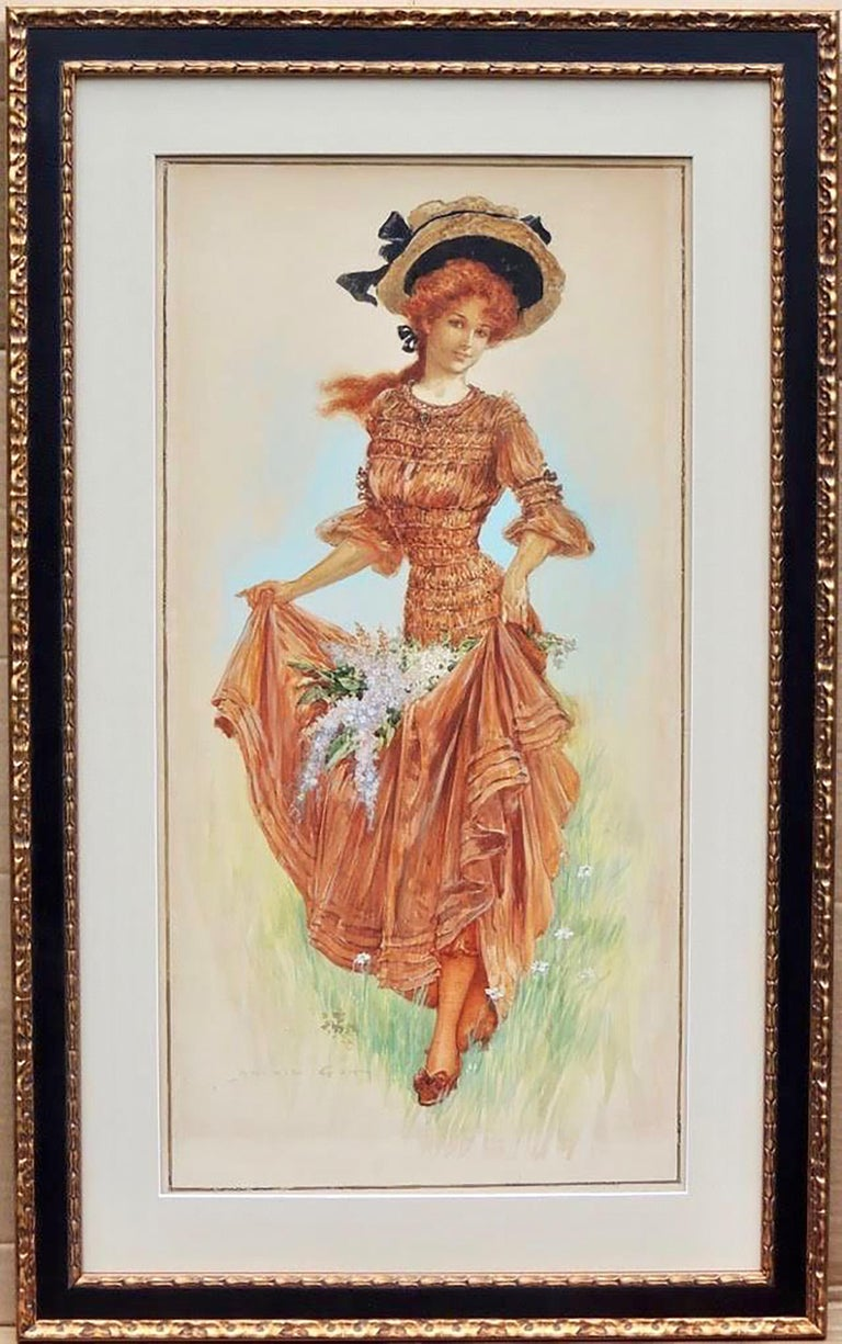Girl Collecting Flowers - Art by Archie Gunn