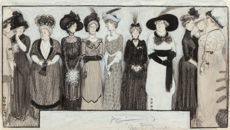 William E. Hill Figurative Art - The Height of Fashion, 1912