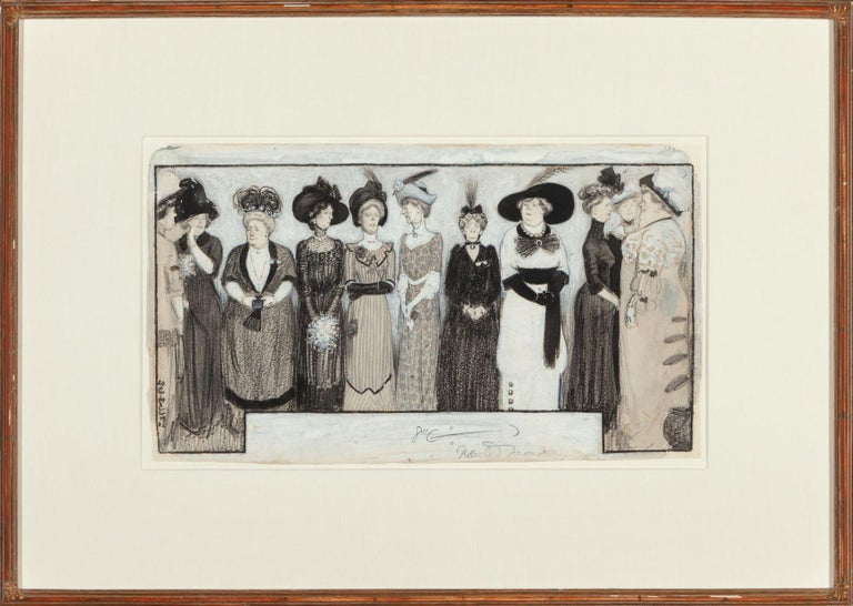 The Height of Fashion, 1912 - Gray Figurative Art by William E. Hill