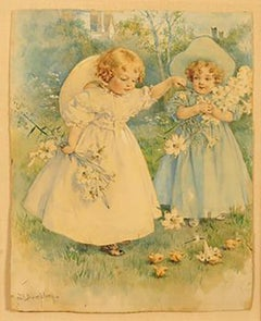 Two Girls Playing with Flowers