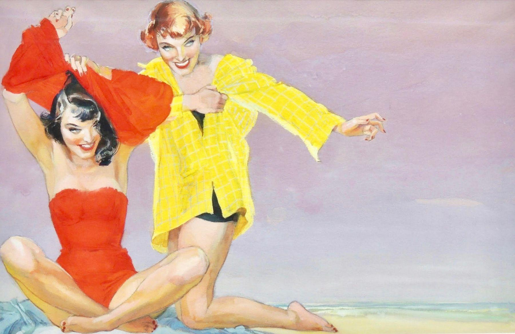 Two Bathing Suited Women at the Beach