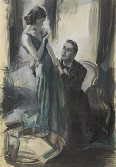A Woman in a Green Dress with a Man on His Knees Clutching Her
