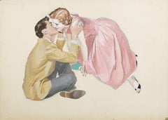 A Woman in a Pink Dress Leaning Over and Kissing Seated Man