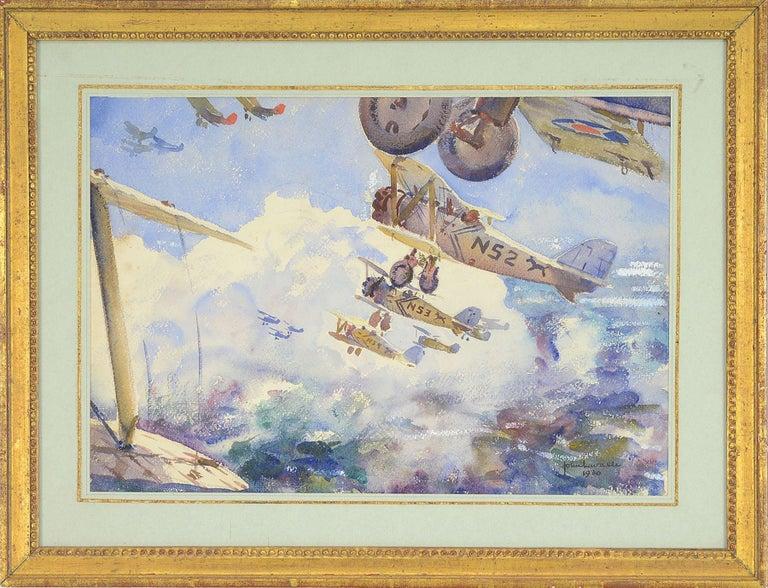 Biplanes In Flight - Art by John Lavalle