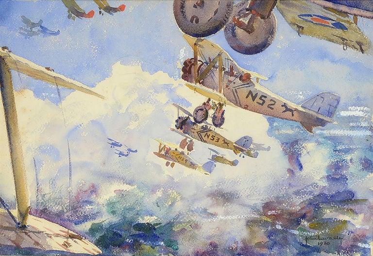 John Lavalle Landscape Art - Biplanes In Flight