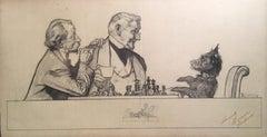 Gentlemen and Scottie dog at Chess Board