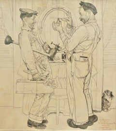 """""""Plumbers"""" Post Cover, Pencil Study"""