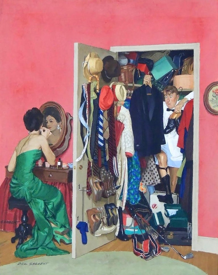 Richard Sargent Interior Art - Hunting His Tux for the Party, Saturday Evening Post Cover
