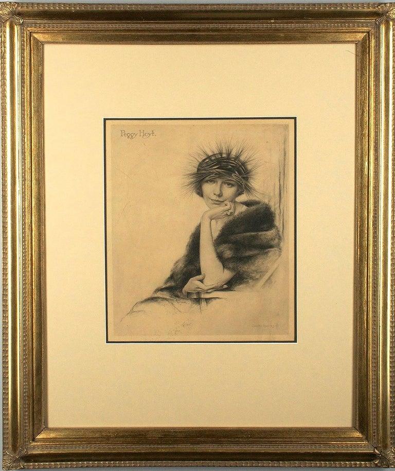Portrait of Peggy Hoyt in Art Nouveau Hat For Sale 1